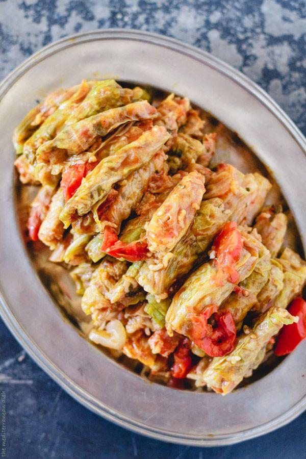 Vegetarian Stuffed Cabbage Rolls, Mediterranean Style