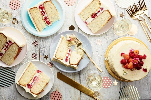 This version of our delicious vanilla-buttermilk cake is doubled up to make a pretty layer cake perfect for birthdays or any festive occasion.