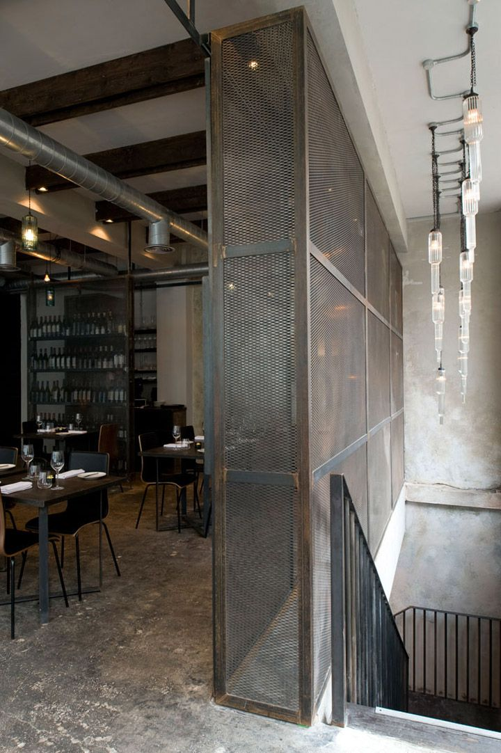 Metal mesh panels.  Dabbous restaurant by Brinkworth, London store design