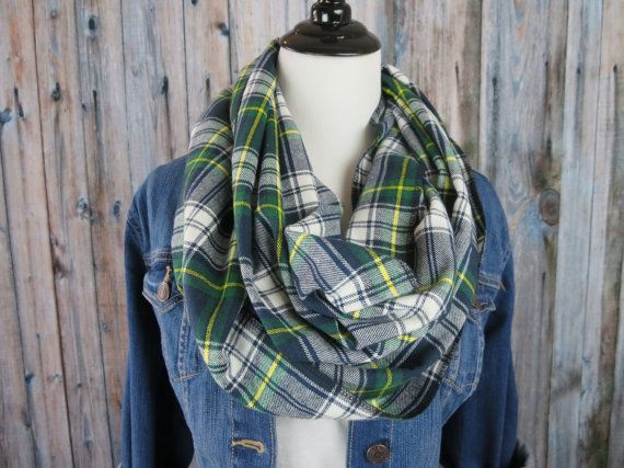 Tartan Plaid Scarf  Green Plaid Scarf  Flannel by OohBabyInfinity