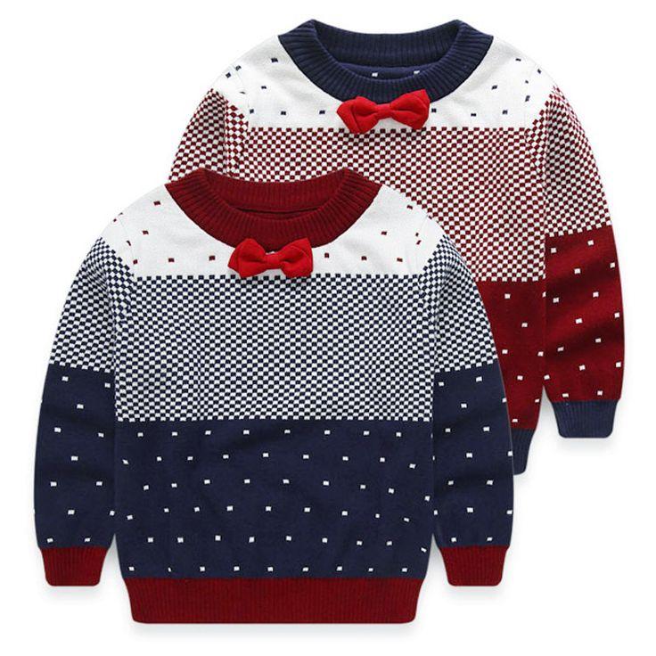 Модный бренд 3-10 лет осенние детская одежда, точка стиль O-шею воротник мальчиков свитер, серые красные BOWKNOT детей свитера мальчика,детские карнавальные костюмы для мальчика,одежда для детей,джемпер для мальчика