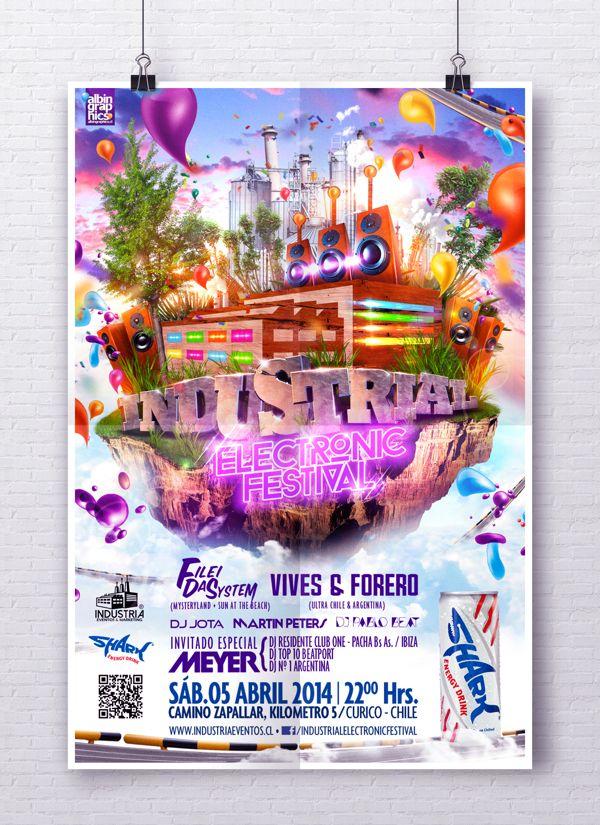"""Afiche oficial """"Industrial Electronic Festival 2014"""". by Félix Farías, via Behance"""