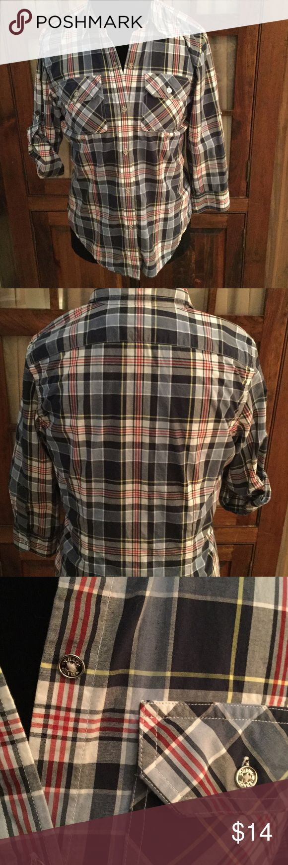 Chaps Shirt Chaps fitted shirt with 3/4 roll up sleeves in a smart looking plaid in navy, red, and white in a soft  cotton material.  Has silver buttons, pockets in the front and darts in the front and back. Chaps Tops Button Down Shirts