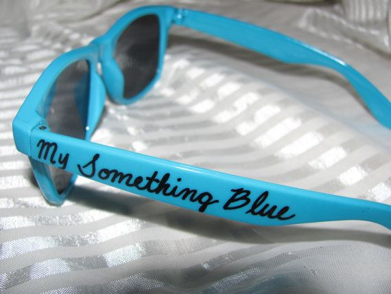Pair of blue personalized sunglasses for wedding day/My Something Blue on Etsy, $7.00