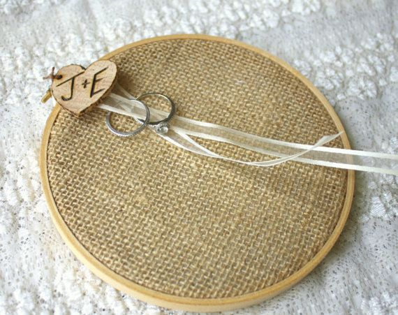 Burlap Ring Bearer pillow. Material stretched over cross-stitch frame.