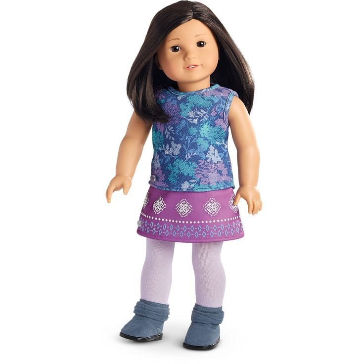 American Girl Print Tank Top & Purple Skirt Outfit for 18-inch Dolls