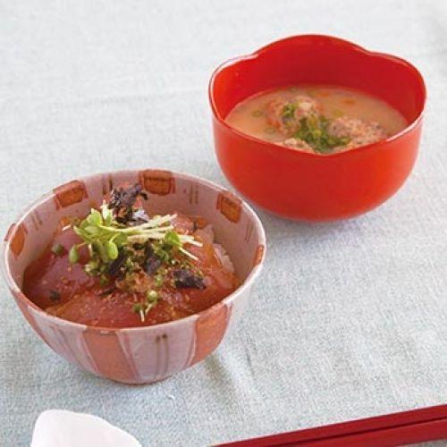 マグロの漬け丼/サバのつみれ汁(レシピ:ゆとりの空間)