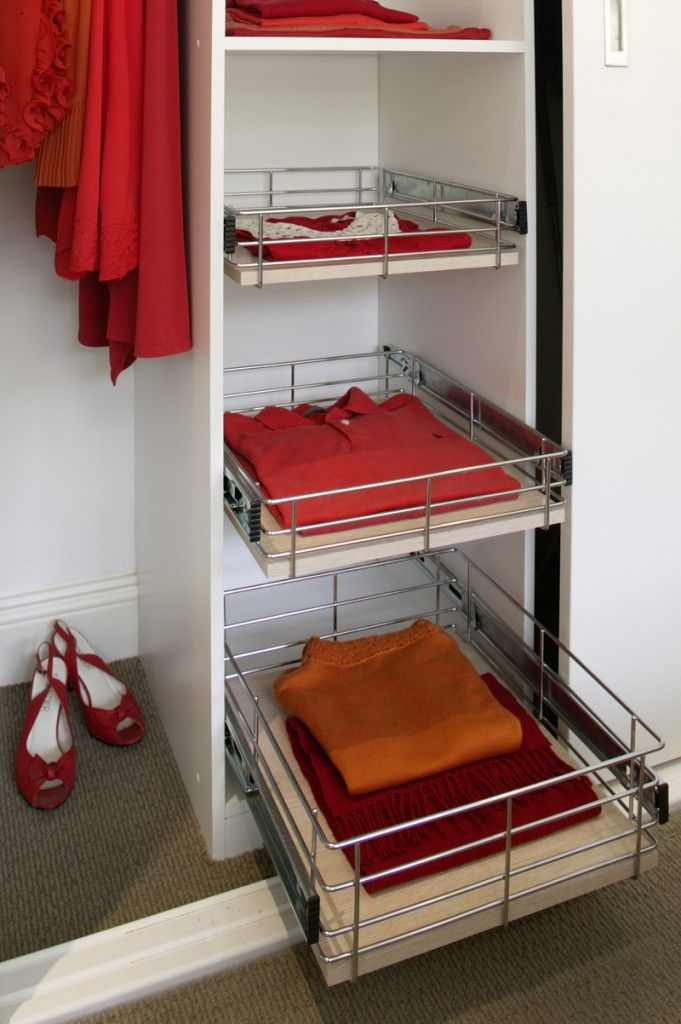 Classic and stylish storage ideas for your wardrobe using stainless steel.  Each has pull-out functionality to enable easy access.