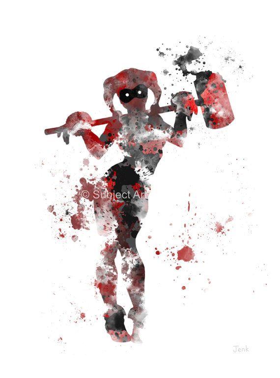 Ilustración de la lámina de Harley Quinn, superhéroe, Super villano, Batman, decoración casera, arte de la pared