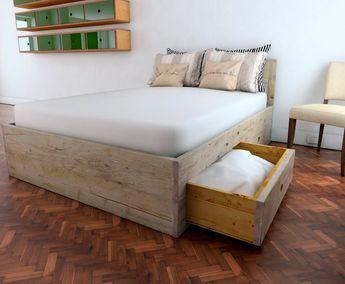 Tweepersoonsbed Met Matras : Deze volledig latten uniek afgeveerde bed base kan worden gemaakt