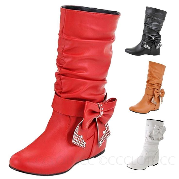 Beaded Bow Wedges Ladies Leather Boots Large Size Shoes 0- 11 12 13 14 15 16