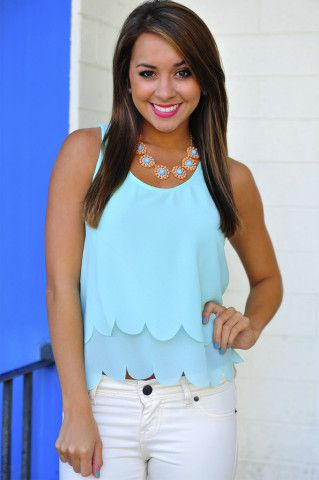 Half Shell Scallop Tank Top: Mint | Hope's