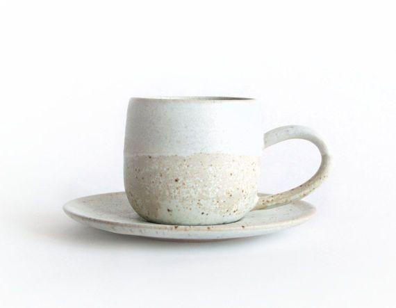 Beige and Blue Espresso Cup Handmade ceramics by RzucidloCeramics