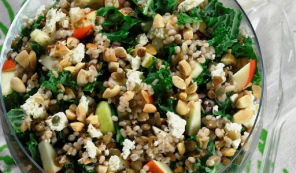 Barley and Lentil Salad with Kale, Apples, Almonds, and Feta