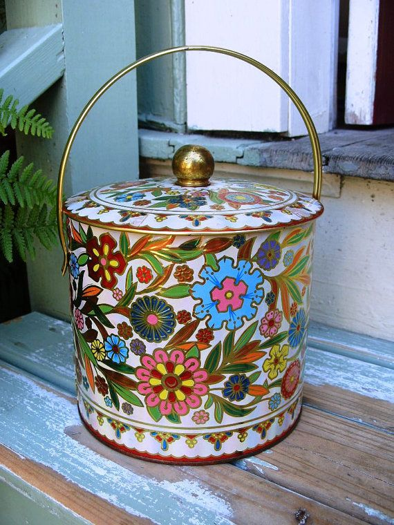 Vintage Large Metal Decorative Floral Biscuit Tin Made in