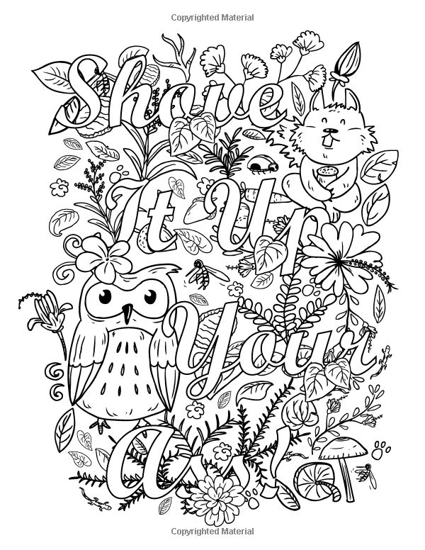 Adult Coloring Book Page Shove It Up T Your Ass