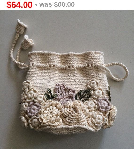 Bag small handmade Irish lace. Crochet, decorated with flowers. Style boho, retro.