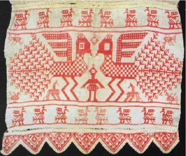 End of the towel. Embroidery. The end of the XVIII century. Nyuksensky area.