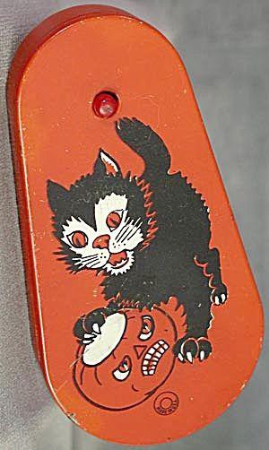 Vintage Halloween Noisemaker ~ Black Cat w/ Scary Jack O' Lantern