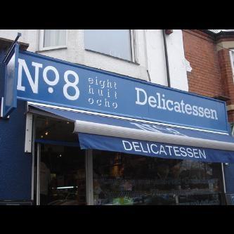 Hand painted deli shopfront in West Bridgford, Nottingham, England.