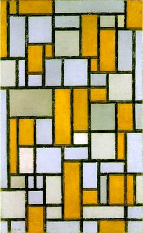 "De Stijl Movement: Piet Mondrian  ""Proponents of De Stijl advocated pure abstraction and universality by a reduction to the essentials of form and colour; they simplified visual compositions to the vertical and horizontal directions, and used only primary colors along with black and white."""