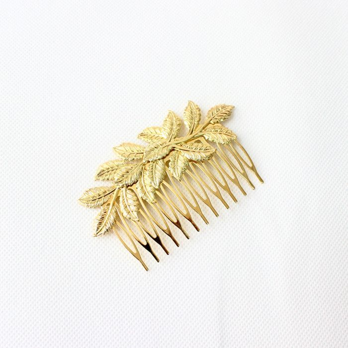 도매 6 개 한국어 boho 세련된 금 도금 잎 웨딩 신부 머리 빗 클립 여성 여자 헤어 장식 a792 투구