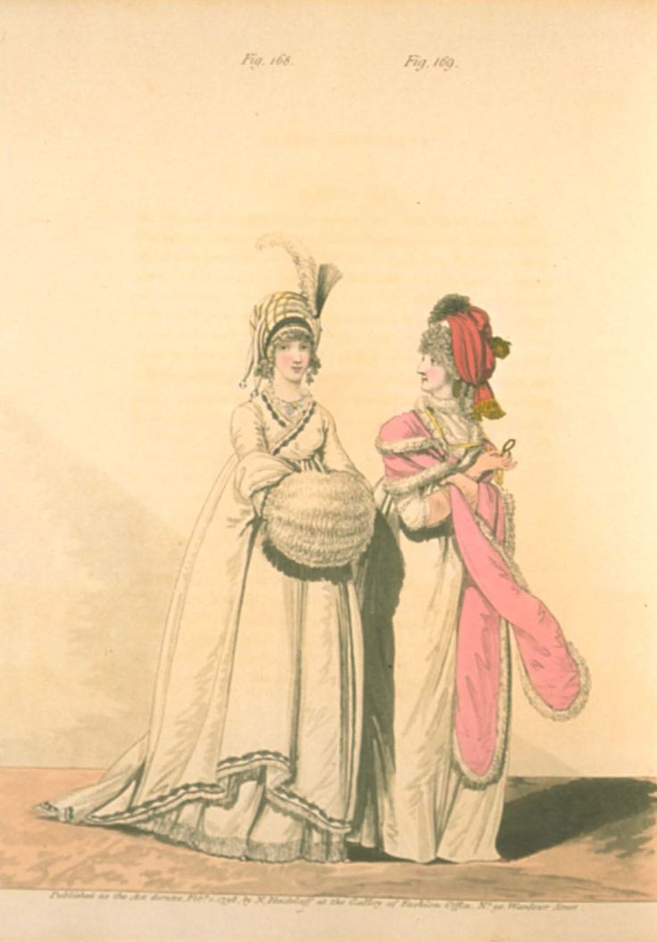 Gallery of fashion February 1798 - Afternoon dress + Morning dress