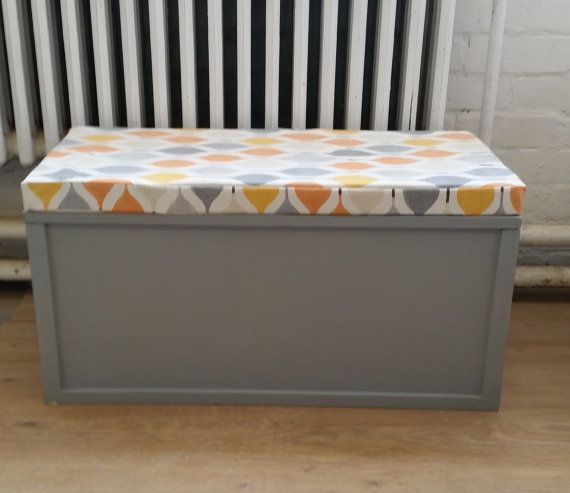 SOLD - Beautiful Painted Blanket Box with upholstered cushion