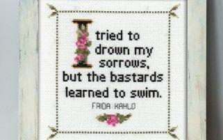 Frida Kahlo Quote Cross Stitch Pattern Framed