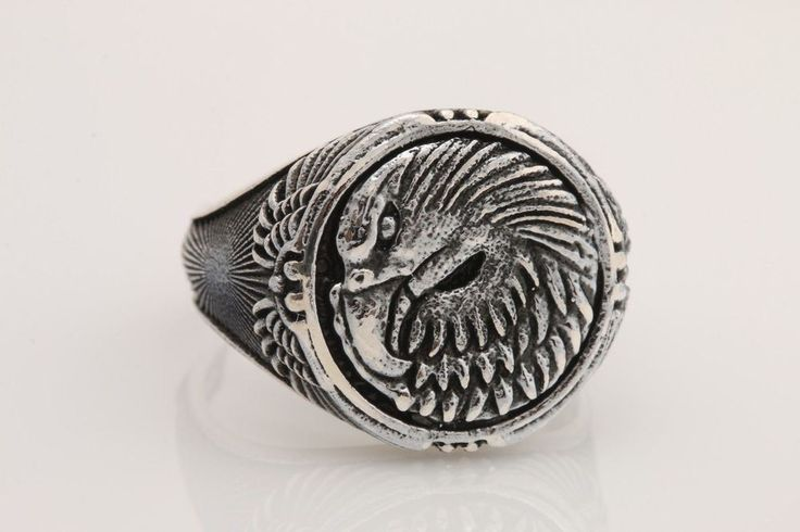 Turkish Handmade Jewelry Eagle 925 Sterling Silver Men's Ring Size 12  | eBay