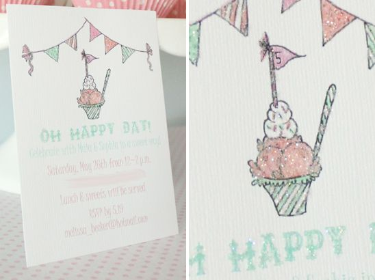 Pretty, sparkly invitations by Icing Designs for an Ice Cream Themed Birthday Party