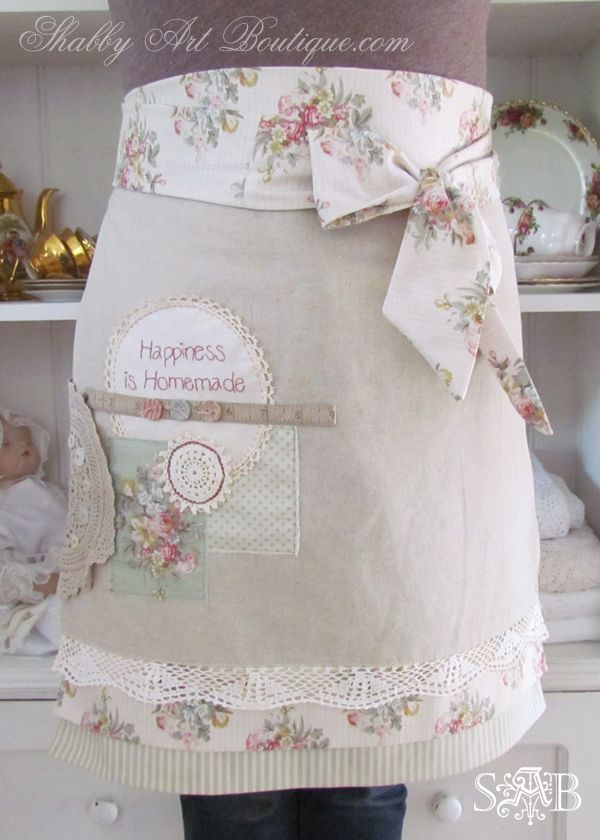 Shabbilicious apron love by Shabby Art Boutique, using vintage embellishments and Tilda fabrics.