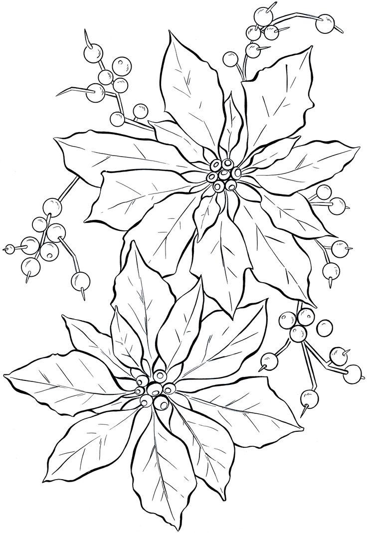 Poinsettia Line Art - Christmas - The Graphics Fairy
