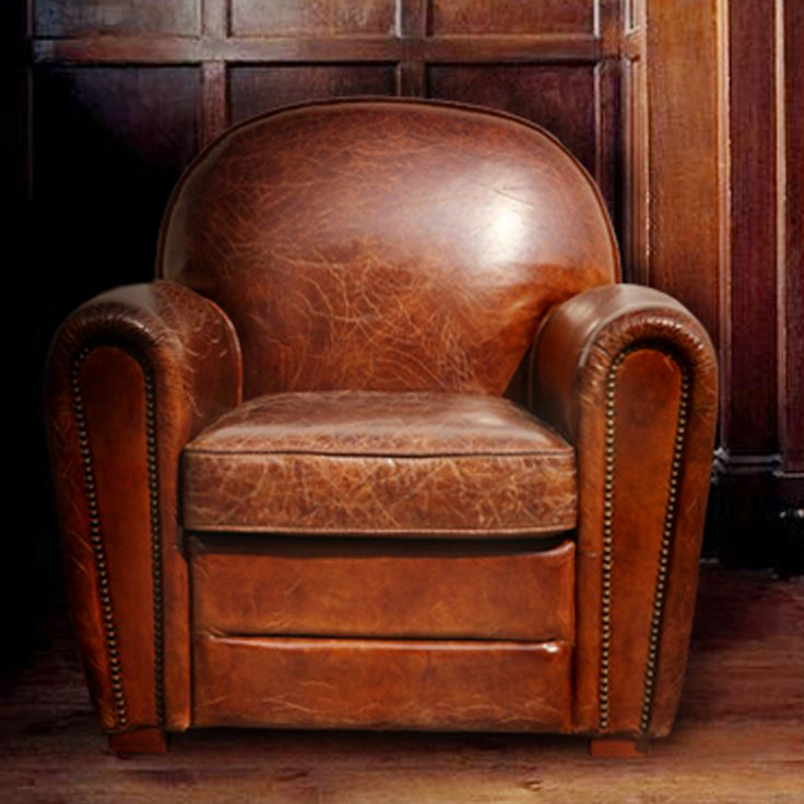 Pasargad Genuine Leather Paris Arm Chair