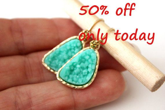 Druzy mint earrings  rich color by anthology27 on Etsy, $9.95