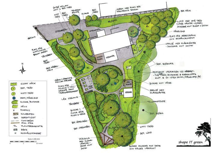 Här ville kunden ha en trädgård i klassisk stil med flaggstång och planterad…