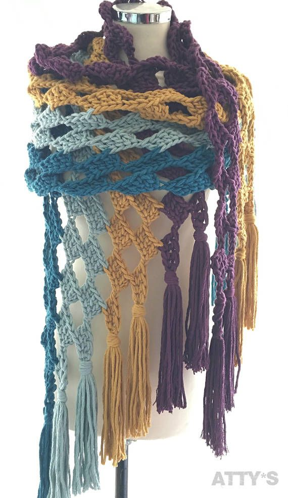 By Claire Chunky Cotton Cath the Waves Shawl pattern PDF