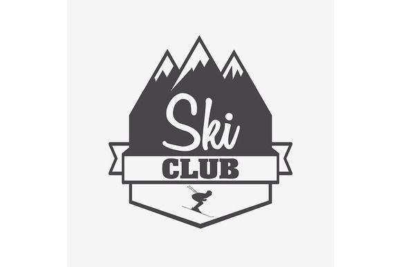 Symbol or label template of ski club @creativework247