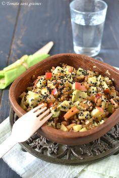 Salade de petit épeautre à l'avocat : http://tomatesansgraines.blogspot.fr/2016/03/salade-de-petit-epeautre-lavocat.html