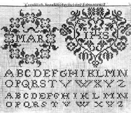 "Digitalt Museum - Broderimønster fra 1728, Tyskland. En av mønstersidene i Rosina Helena Fürtins ""Neues Model - Buch""."