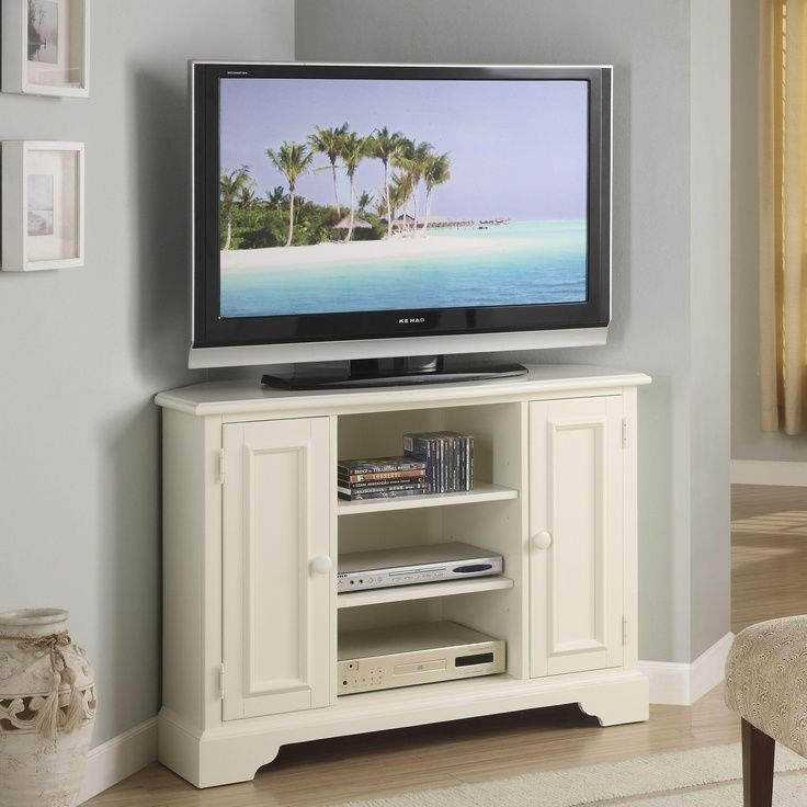 Riverside Splash Of Color 44 In. Corner TV Stand Tall   Shores White   TV  Stands At Hayneedle