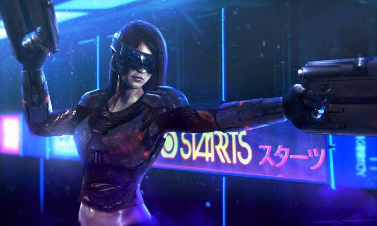 Cyberpunk mercenary girl, Lucas Hurtado on ArtStation at https://www.artstation.com/artwork/l61OO