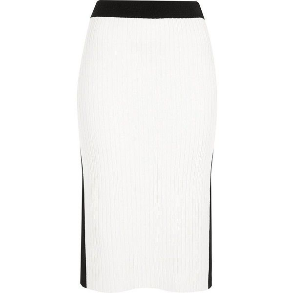 River Island White and black sports midi skirt ($64) ❤ liked on Polyvore featuring skirts, midi skirts, white, women, tall skirts, calf length skirts, white and black skirt, stretch skirts and midi skirt