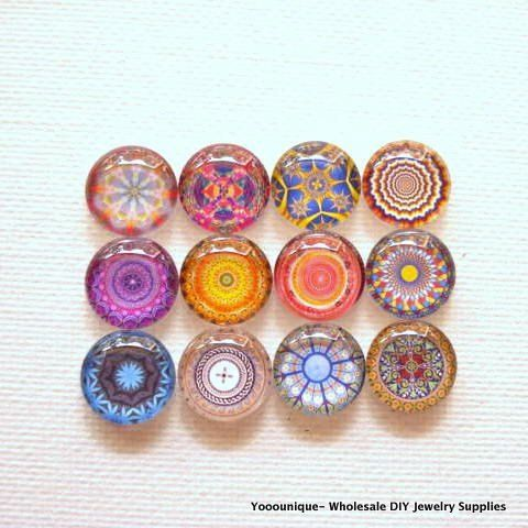 24pcs 12pair 12mm Handmade Mix 12 Pattern Glass Photo Cabochon by yooounique #nice #glass #cabochon #colourful #earstub #earring #gift #motherday #yooounique