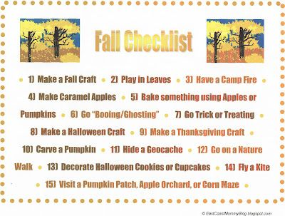 East Coast Mommy: Fall Checklist {with free printable}