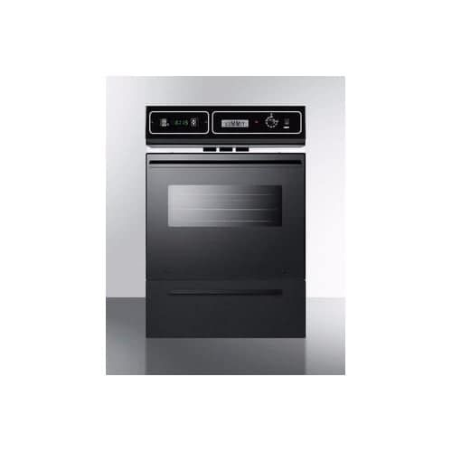 Summit TM7212 24 Single Gas Wall Oven with Oven Window, Electronic Ignition, an, Grey chrome