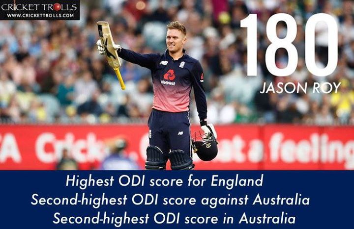England beat Australia by 5 wickets with the help of Jason Roy's remarkable 180 #AUSvENG #1stODI - http://ift.tt/1ZZ3e4d