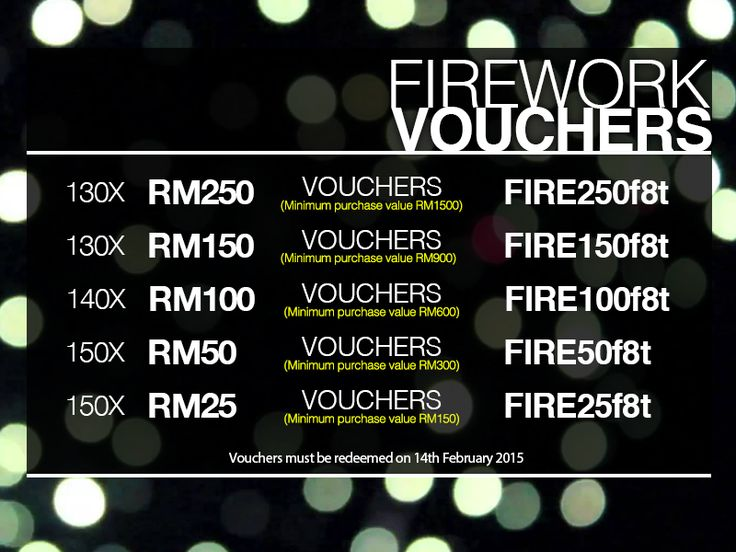 Weekend is back, spread the LOVE with Lazada Firework Vouchers CLICK >> http://www.lazada.com.my/organic-oasis/ Shop using these codes* upon checkout and get discounts** off your purchase. *Please register/login to use the codes  **Only one time use per customer