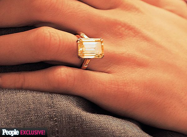 Amal Alamuddin's Engagement Ring from George Clooney – 7 carat emerald cut with baguettes in platinum