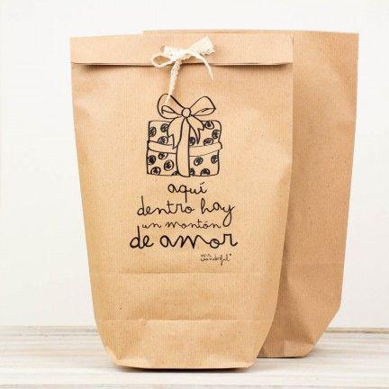 "Mr, wonderful, bolsas kraft ""Aquí dentro hay mucho amor"". #packaging"
